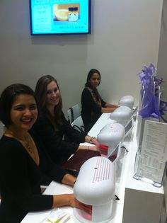 Girls dry their nails together at the Miniluxe Hingham Grand Opening Blogger Event!