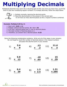 math worksheet : an anchor chart designed to illustrate what to do with the decimal  : Multiplication Of Decimals Worksheet