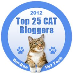 We are honored to have been named as one of the top 25 cat blogs of 2012 by the Bel-Rea Institute of Animal Technology.