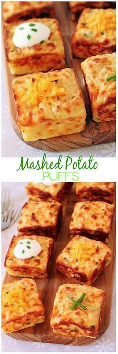 Mashed Potato Puffs Mashed potatoes get a new lease on life with the help of cheddar, sour cream, chives and a muffin pan! Mashed potatoes get a new lease on life with the help of cheddar, sour cream, chives and a muffin pan! Potato Dishes, Vegetable Dishes, Vegetable Recipes, Food Dishes, Side Dishes, Potato Recipes, Breakfast And Brunch, Homemade Breakfast, Leftover Mashed Potatoes