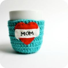 Mom coffee cozy mug cozy tea cup cozy. Funny tattoo heart turquoise red crochet handmade. $15 on Etsy. Shop: KnotworkShop.