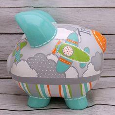 Personalized Piggy bank Aviator Artisan hand by Alphadorable
