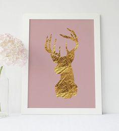 Gold Hirsch Reh Print, Hirsch Kopf Plakat Weihnachten Hirsch, Tier Kabine Dekor, rosa und Gold, Rustic Home Decor, Hirschgeweih, Baby Mädchen Zimmer
