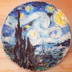 Hand painted cake Van Gogh Starry night