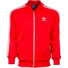 Men's adidas Superstar Track Jacket Red ❤ liked on Polyvore featuring mens, men's clothing and men's activewear