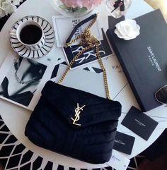 """Saint Laurent Small Loulou Chain Bag in """"Y"""" Velvet and Leather black xícara Ysl Bag, Bags 2017, Saint Laurent Paris, Luxury Bags, E Design, Jewelry Accessories, Velvet, Purses, Chain"""