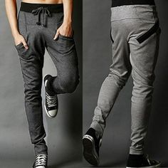 UK S Dk Gray Mens Harem Pants Sportwear Casual Slim Fit Trousers Sweatpants