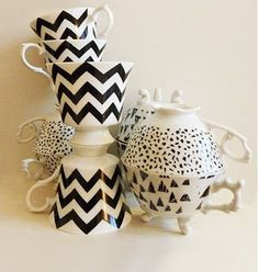 How cute are these!!! LOVING the chevron pattern and graphic black and white coloring of these adorable tea cups!! <3