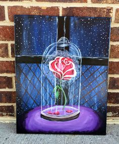 Items similar to Disney Beauty and the beast rose painting on Etsy – leinwandkunst Disney Canvas Paintings, Simple Canvas Paintings, Easy Canvas Painting, Easy Paintings, Diy Painting, Painting & Drawing, Canvas Painting Designs, Beautiful Paintings, Space Painting