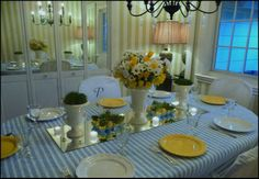 blue and white with bright yellow for Easter