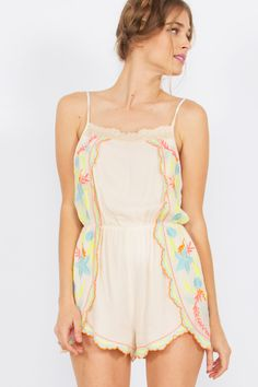 Fun romper with an all over neon embroidery. Stretch band at waist Boho Hat, Stretch Bands, Looking For Women, Sexy Women, Dress Shoes, Cute Outfits, Rompers, One Piece, Fashion Styles