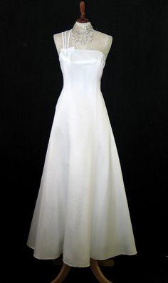 Jessica McClintock Ivory Satin Long Formal Dress Size 10   eBay