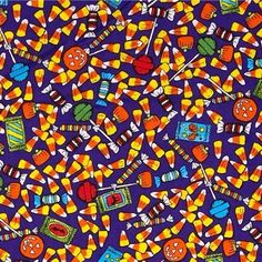Ghoul House Rocks Halloween Candy Sweets Treats Purple Cotton Fabric
