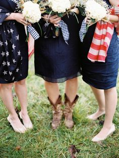 bridesmaids for a military or July 4th wedding, photo by Sarah Der Photography http://ruffledblog.com/rustic-virginia-wedding #wedding #weddingideas