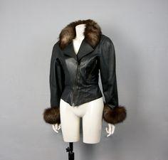 7cf701ac6a0c8 Vintage 1980s Fox Fur Trimmed 100% Soft Lamb Leather Jacket Punk Rocker  Biker Fetish by