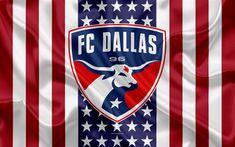 Download wallpapers FC Dallas, 4k, logo, emblem, silk texture, American flag, football klb, MLS, Dallas, Texas, USA, Major League Soccer, Western Conference