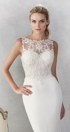 Ella Rosa style / Sexy Lace Mermaid Gown / Illusion and Lace Bateau Neckline / Low open Back / Lace train / Romantic Wedding Gown / Tea Length Wedding Dress, Wedding Dresses Plus Size, Modest Wedding Dresses, Designer Wedding Dresses, Beaded Gown, Bridal, Dresses With Sleeves, Gowns, Lace Mermaid