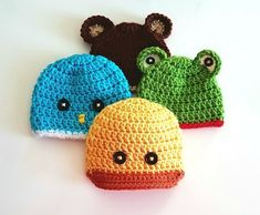 Preemie Crochet Baby Hats Day The Animals – Classy Crochet Today's hats are my favorite of the bunch… the cute animals! I love that these can be unisex and I think it's a truth universally acknowledged that tiny ears and eyes on anything… Crochet Preemie Hats, Baby Hats Knitting, Newborn Crochet, Crochet Beanie, The Animals, Baby Hat Patterns, Crochet Patterns, Newborn Hats, Newborn Outfits