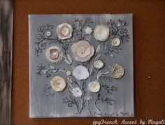Original french 3D mixed media canvas painting drawing fabric flowers wall hanging decorative art FREE SHIPPING on Etsy, $65.00