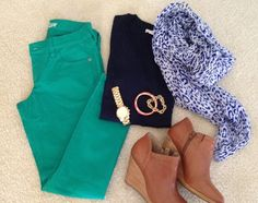 Green skinny outfit