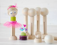 DIY Clothespin Doll - 10 Wooden Dolls -  Wooden Clothespins Dolls DIY - Clothespin with Head and Stand