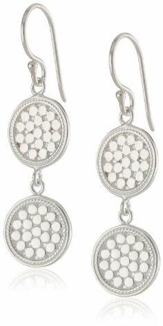 """Anna Beck Designs """"Gili"""" Sterling Silver Wire Rimmed Double Disk Drop Earrings - Fashion Jewelry"""