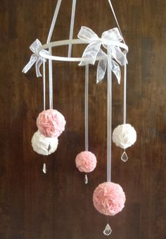 Pink and White Fabric Pom Pom Mobile with by NeonLoveDesigns, $189.00