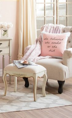 Feminine seating area.