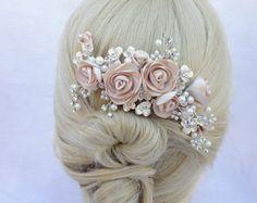Wedding Headband, Bridal Hair Pins, Hair Comb Wedding, Bride Hair Accessories, Flowers In Hair, Satin Flowers, Bridal Headpieces, Hair Jewelry, Hair Pieces