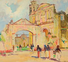 "ORRIN A. WHITE (American 1883-1969) ""The Cathedral Gateway, Cuernavaca, Mexico,"" Oil on canvas #fineart #michaans http://www.michaans.com/highlights/2013/highlights_02032013.php"