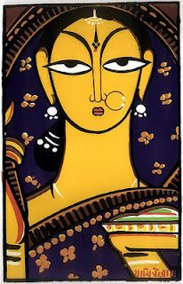 Jamini roy paintings. Jamini Roy was an Indian painter.His new style was a reaction against the Bengal School and Western tradition. His underlying quest was threefold: to capture the essence of simplicity embodied in the life of the folk people; to make art accessible to a wider section of people; and to give Indian art its own identity.