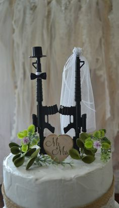 Machine gun weapon wedding cake topper army police themed