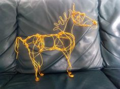 Handmade Medium Gold Wire Horse - Special Price!  Check my Etsy shop link
