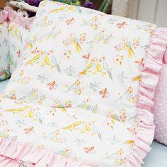 Love Birds Crib Comforter with Ruffle | Carousel Designs #baby #nursery #animal