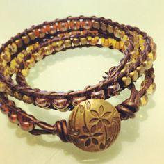 Fall foliage triple leather wrap bracelet