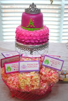 Pink Princess Popcorn  Princess Party Favors  Set of 12 by Swankk, $30.00