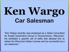 Ken Wargo: Car Salesman