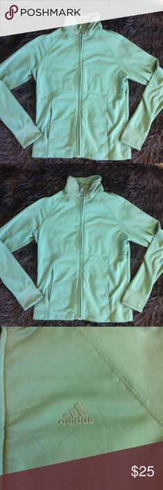 "Adidas Mint Green Women's Running Jacket Women's sea foam/mint green zipper running jacket. The size is faded but the jacket measures approx. 37"" chest and 23"" total length, it has a good bit of stretch. adidas Jackets & Coats"