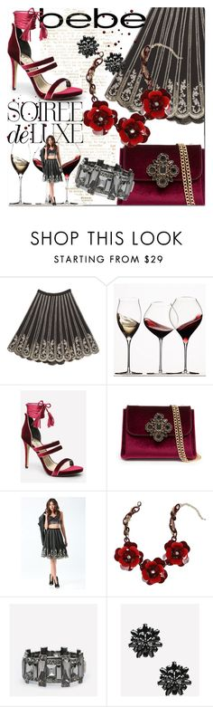 """""""Soirée de Luxe with bebe Holiday: Contest Entry"""" by jennifer ❤ liked on Polyvore featuring Bebe and Zafferano"""
