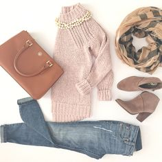 StylishPetite.com | Fall casual outfit - chunky knit sweater, ankle booties, plaid scarf and camel purse