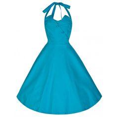 56ee02615a1e  Myrtle  Scuba Blue Halter Neck Swing Jive Dress