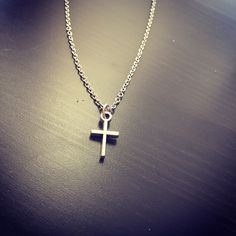 Cross charm necklace, silver cross pendant, christian, catholic, religious symbol, bible, faith, spiritual symbol jewelry, minimalist style by Catherineswish on Etsy https://www.etsy.com/listing/508206193/cross-charm-necklace-silver-cross