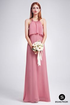 Try this dusty rose long chiffon bridesmaid dress? Shop with cheap price and free shipping!