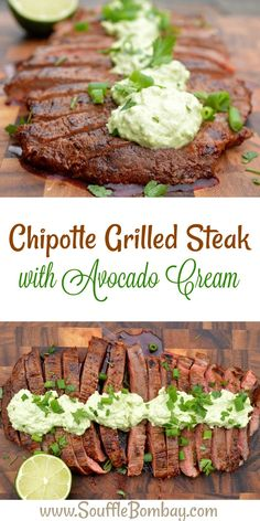 Chipotle Grilled Steak with Avocado Cream A delicious way to dress up a steak that will impress! Recipe for Chipotle Grilled Steak with Avocado Cream a great recipe to dress up a steak. The chipotle and avocado cream compliment the steak wonderfully! Barbecue Recipes, Grilling Recipes, Meat Recipes, Mexican Food Recipes, Dinner Recipes, Cooking Recipes, Vegetarian Grilling, Healthy Grilling, Barbecue Sauce