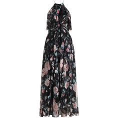 Master Flute Dress (20 235 UAH) ❤ liked on Polyvore featuring dresses, flutter-sleeve dress, high neckline dress, floral dress, zipper back dress and high neck dress