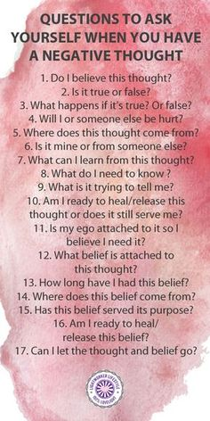 Health Motivation Question to Ask Yourself When You Have a Negative Thought - These are some questions I use when doing belief work or when a thought bothers me.