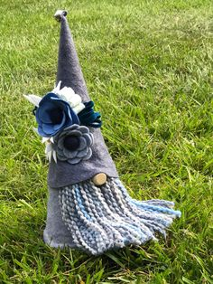 Blue Floral Embroidered tomte/ Nisse/ Gnome