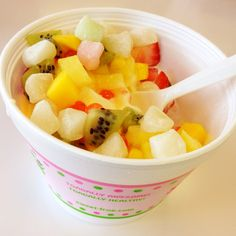 Original and mango mix from Sweet Frog in Gainesville VA. Toppings mango, pineapple, strawberry, mango, kiwi and My favorite, mochi. :)