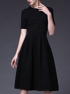 Plain Crew Neck Short sleeve Skater Casual Shirred Black Midi Dress