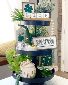 St Patrick's Day Decorations, St Patrick's Day Crafts, Tiered Stand, St Paddys Day, Tray Decor, Seasonal Decor, Saint Patrick, Tier Tray, St Pats